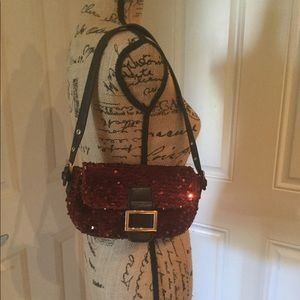 Charming Charlie chocolate sequin mini bag